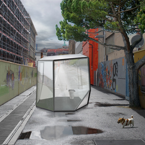 baño publico transparente