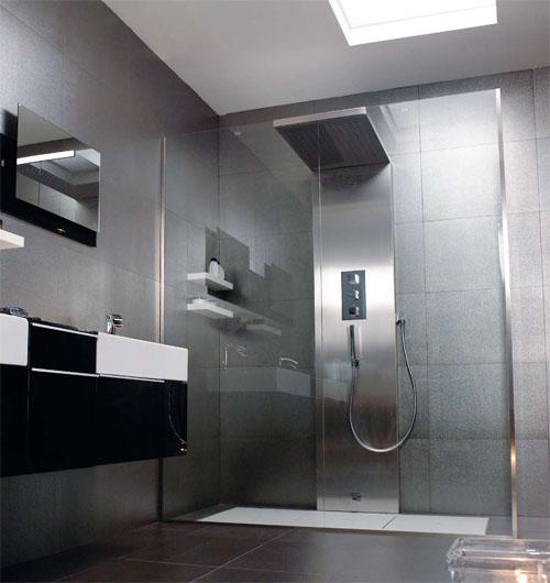 imagine shower de systempool es un nuevo concepto de cabina de ducha compuesto por un plato de ducha y una columna de ducha de grandes dimensiones con forma - Duchas Grandes
