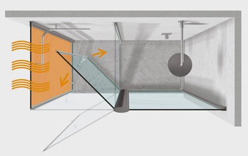 Cabina de ducha con pared radiante de vismaravetro aqua for Instalacion cabina ducha