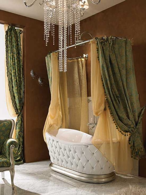 Victorian-style-bathroom-design-with-leather-covered-bathtub-and-lace-curtains