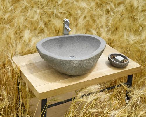 Piedra de rio para el lavabo aqua for Lavabos imitacion piedra