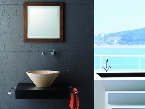 Lavabo conico-beige para el baño
