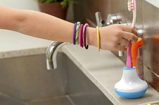 Soporte de cepillo de dientes para controlar el tiempo de lavado