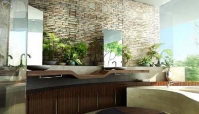 Baño con plantas