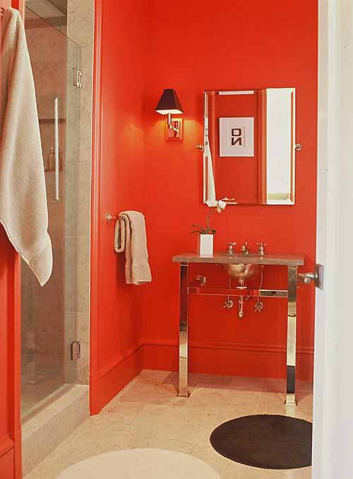 Baños Modernos Rojos:Red Bathroom Decorating Ideas