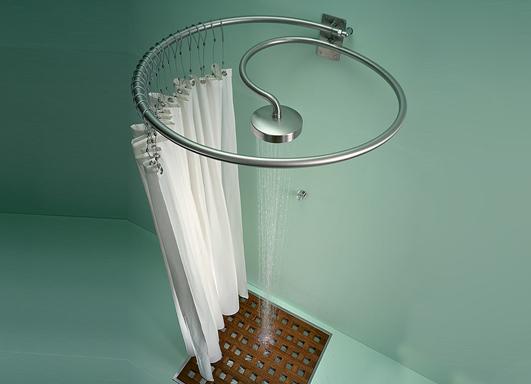 Original alcachofa integrada en la barra de las cortinas for Alcachofas para ducha