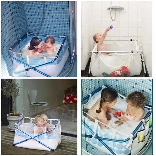 Baños Ninos Pequenos:Bañera plegable para niños que puede utilizarse como piscina