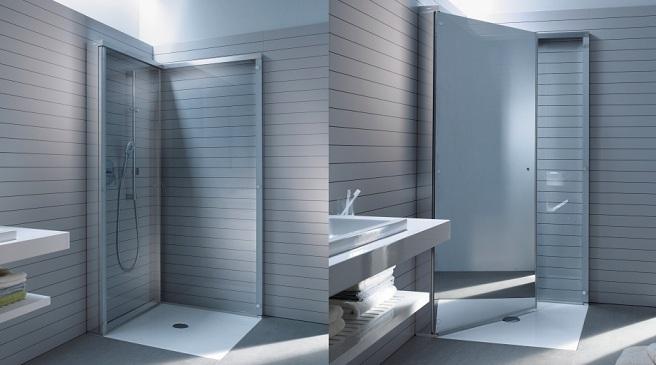 "Baño Pequeno Mampara:Mampara plegable que ""desaparece"" para baños pequeños – aqua"