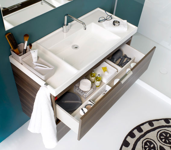 Dise o y funcionalidad en lavabos para ba os peque os aqua - Muebles de lavabo de diseno ...
