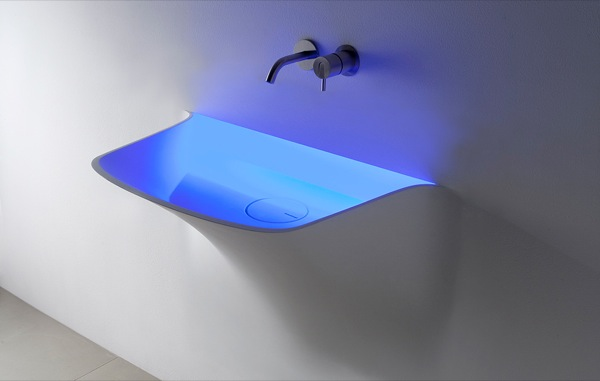 Lavabo de corian integrado en la pared aqua - Lavabos de corian ...