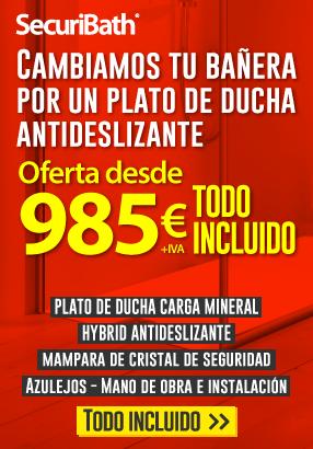 Oferta cambio de bañera por plato de ducha 985 euros todo incluido