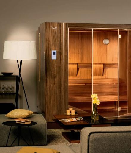 una sauna que se encoge pulsando un bot n sauna klafs s1. Black Bedroom Furniture Sets. Home Design Ideas