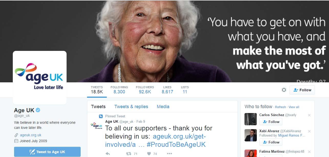 redes sociales para la tercera edad: Age UK