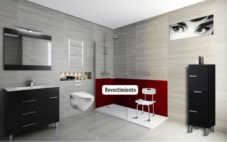 Tipos de revestimiento de pared y suelo en ba os for Revestimiento vinilico para paredes de banos