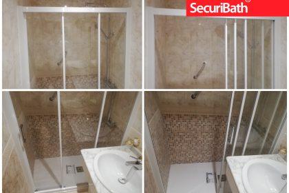Mampara de Tres Hojas para baño estrecho - SecuriBath Solutions