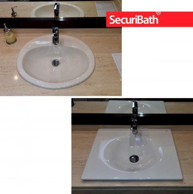 Antes y después de cambio de lavabo de encimera KALAHARI de Roca - SecuriBath Solutions