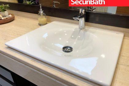 Cambio de lavabo de encimera KALAHARI de Roca - SecuriBath Solutions